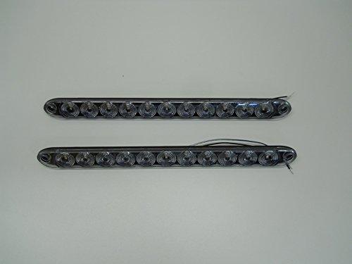 (2) Tecniq Slimline White LED Back Up Tail Reverse Light Trailer RV