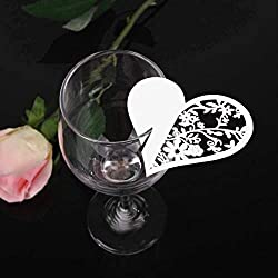 Party Diy Decorations - 50pcs Paper Laser Cut Heart Shape Name Card Cup Wine Glass Cards Place Escort Party Wedding - Wedding Shaped Place Card Cards Home Flowers Bowl Decorated Coaster