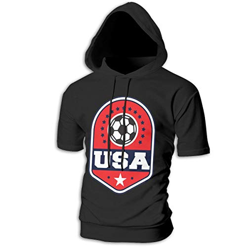 ZOE-SHOP Soccer USA Mens Hipster Hip Hop Short Sleeve Longline Pullover Hoodies Shirts -