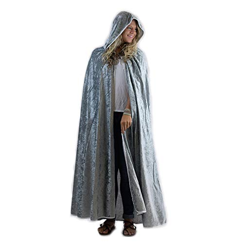 Everfan Silver Hooded Cape | Cloak with Hood for Halloween, Cosplay, Costume, Dress Up -