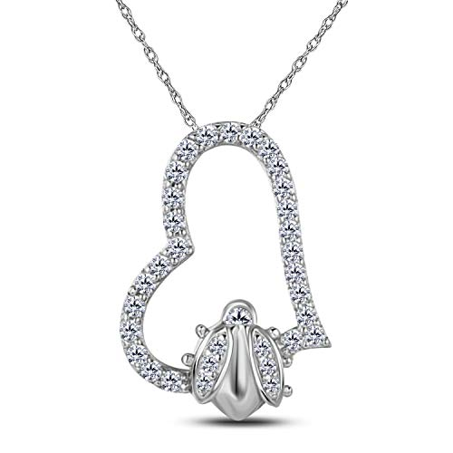 (14k Gold Over Sterling Silver Cubic Zirconia Ladybug Pendant Necklace with 18'' Chain)