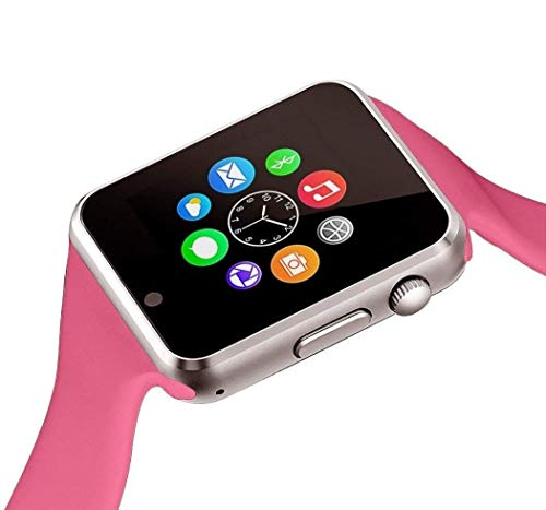 Aeifond Smart Watch Bluetooth Smartwatch Touch Screen Wrist Watch Sports Fitness Tracker with Camera SIM SD Card Slot Pedometer Compatible iPhone iOS Samsung LG Android Men Women Kids (Pink)