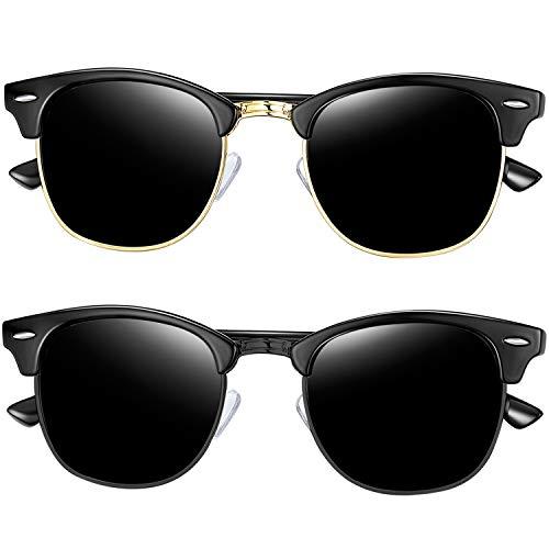 Joopin Semi Rimless Polarized Sunglasses for Men, Retro Brand 2 Pack Womens Sunglasses (Brilliant Black+All ()