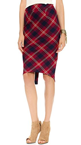 Free People Women's Geometric Precision Plaid Pencil Skirt Cranberry Size 12