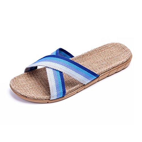Bestfur Heren Ademend Lichtgewicht Huislinnen Slippers Blauw