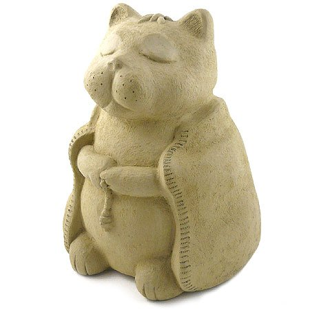 Modern Artisans Meditating Cat - Cast Stone Garden Sculpture, Large Size, American Made
