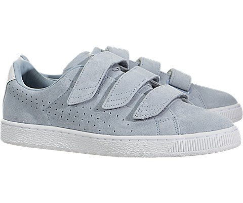Puma Mens Basket Klassische Strap Suede Schuhe Blauer Nebel