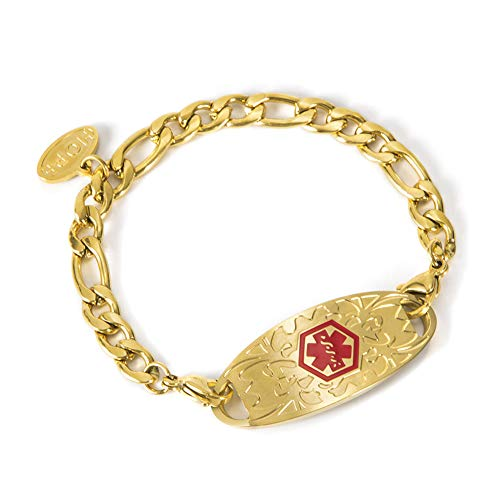 BAIYI HOPE Free Engraving Medical Alert ID Bracelet for Women Gold Figaro Chain 7 inch