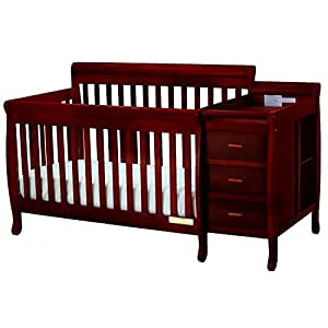 Athena Kimberly 3 in 1 Crib and Changer with Toddler Rail, Cherry