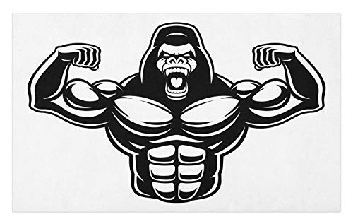 Ambesonne Gorilla Doormat, Monochrome Style Athletic Bodybuilder Animal Icon Sportive Beast Lifestyle, Decorative Polyester Floor Mat with Non-Skid Backing, 30 W X 18 L Inches, Charcoal Grey White