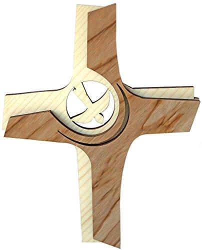 Kaltner Präsente Geschenkidee - Wandkreuz Echtes Holz Kreuz Kruzifix mit Taube für die Wand 16 cm modern gefertigt im Grödner Tal Südtirol