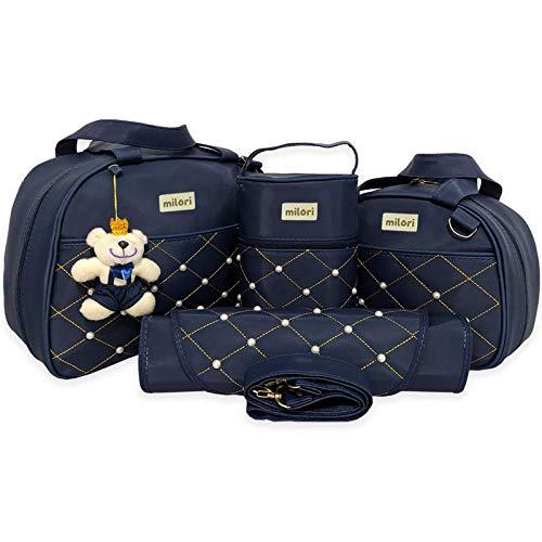 Kit com 4 Bolsas de Maternidade Pérola - Térmico Impermeável - Azul Marinho