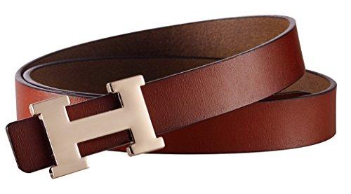 Fashion H-Style Slim Belt for Women Lady [2.5cm Belt Width] (Brown, 95cm (Waist 27''~33'' or Below)) by Amone Ling (Image #2)