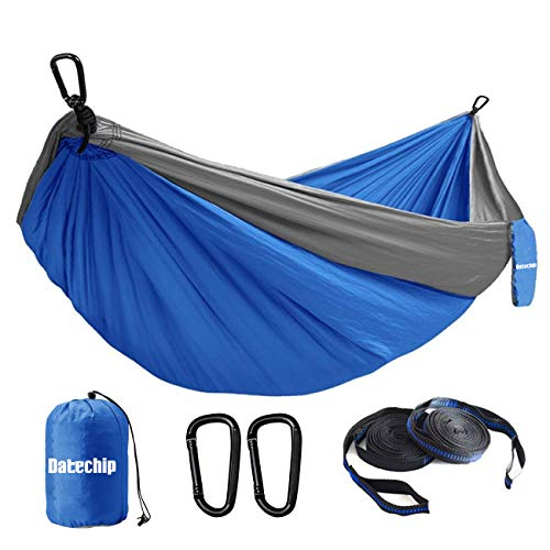 Datechip Portabl Camping Hammock, Double Hammock, Lightweight Parachute Nylon Hammock with 2 Tree Straps & Carabiner for Indoor Outdoor Backpacking, Travel, Beach, Hiking, Yard, Garden