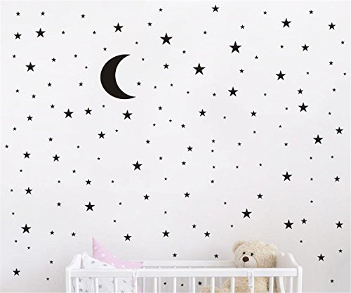 JOYRESIDE Moon and Stars Wall Decal Vinyl Sticker For Kids B