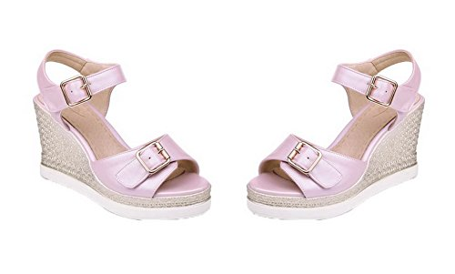 effen sandalen Agoolar hak gmxlb008781 met dameshoge hoge hiel met pumps roze open qYgqUX