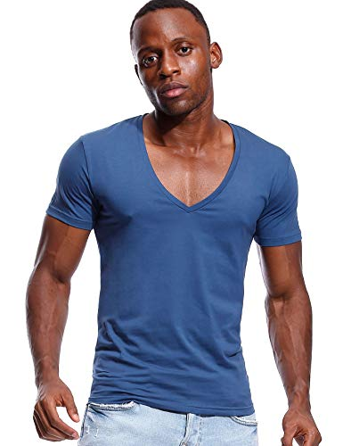Deep V Neck T Shirt for Men Low Cut Vneck Tee Invisible Tshirt Vee Top Blue L ()