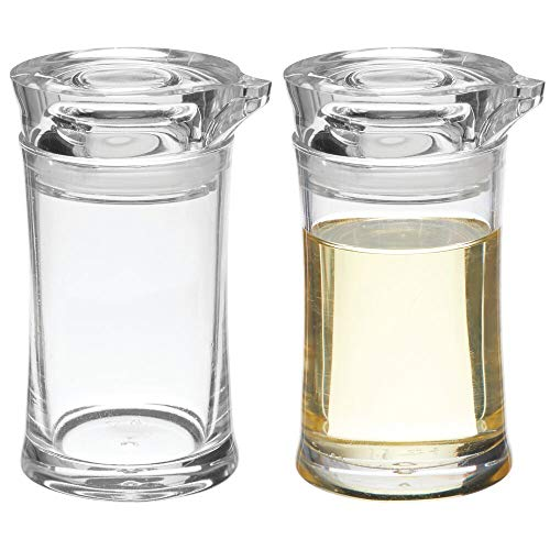 mDesign Plastic Dispenser Bottle Cruet with Pouring Spout and Removable Lid for Kitchen Countertop or Pantry Storage to Hold Oil, Vinegar, Water - Small, Pack of 2 - Clear