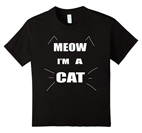Kids Meow I'm A Cat Halloween Costume T Shirt 8 Black - Child Cat Costume Diy
