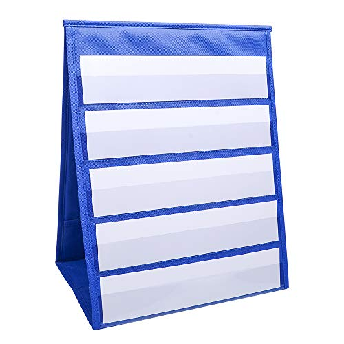 Double Sided Desktop Pocket Chart, Self-Standing Tabletop Desktop Pocket Chart with Bonus 20X Dry Erase Cards, Sentence Strips File Holder For Individual or Small Group Usage in a Classroom or -
