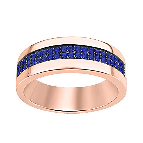 (tusakha Two Row Men's Wedding Half Eternity Band Ring 0.75Ctw Round Cut Blue Sapphire 14k Rose Gold Over .925 Sterling Silver)