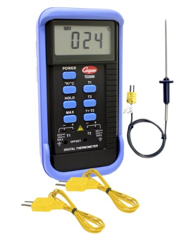 Cooper-Atkins TD2000-01-1 Dual Input 2 Zone Thermocouple Needle Probe Kit with 31901-K Needle Probe and (2) 6030MK Bead Tip Probes, -58°F to 2000°F Temperature Range