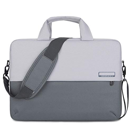 - BRINCH 15.6 Inch Soft Nylon Laptop Bag Water Resistant Notebook Shoulder Messenger Bag Lightweight Business Briefcase Travel Carrying Sleeve Case w/Shoulder and Luggage Strap for Men Women, Gray
