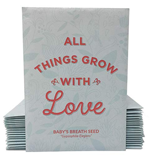 Baby Seeds Shower Favor (All Things Grow with Love - Baby's Breath Seed Packet Party Favors - Baby Shower for Boy or Girl - Already Filled - Pack of 20)