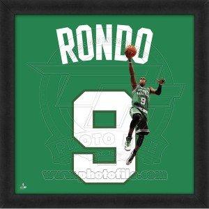 (Rajon Rondo, Celtics photographic representation of the player's jersey Framed Memorabilia 20 x 20in)