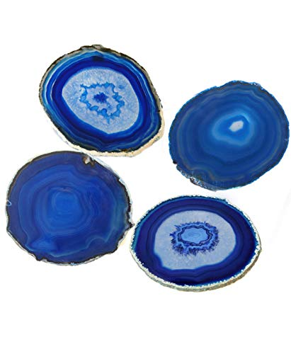 - AMOYSTONE Blue Agate Coaster Cup Mat Dyed Sliced Agate Beverage Coasters Small for Drinks Gift Set of 4 Plates Blue 3-3.5