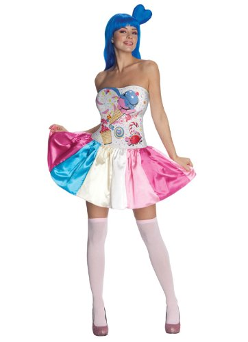 [Katy Perry Secret Wishes Candy Girl Costume, Multi, Small] (Candy Woman Costumes)