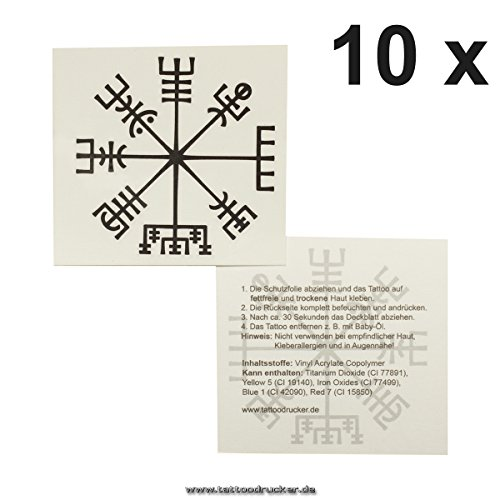 10 x Viking Compass Tattoo - Vegvísir - Celtic Compass - Mystical Protection Symbol -