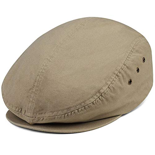 Canvas Newsboy Cap - Mega Cap Washed Canvas Golfing Beret IVY Ascot Cabbie Cap Khaki