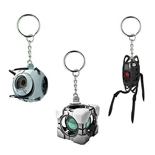 (Portal Vinyl Keychain Gift Set: Space Sphere, Refracting Box, Defective Turret)