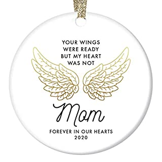 """In Loving Memory of Mom Ornament 2020 Christmas Memorial Loss of Mother Anniversary Keepsake Family Friend Sympathy Gifts Funeral Service Condolence Gold Angel Wings 3"""" Flat Circle Ceramic Decorations"""