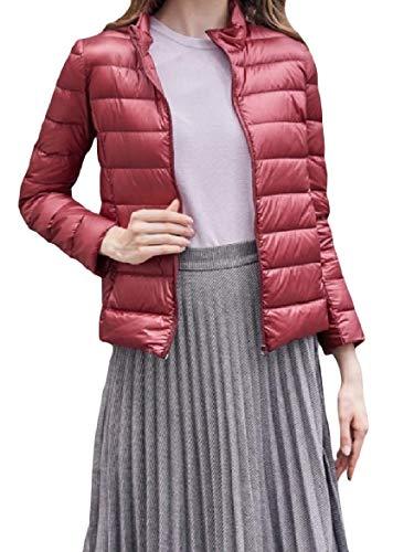 Stand Zip Red Women Howme Light Pocket Weight Collar Long Jackets Wine Sleeve Slim Down YHqRTxq