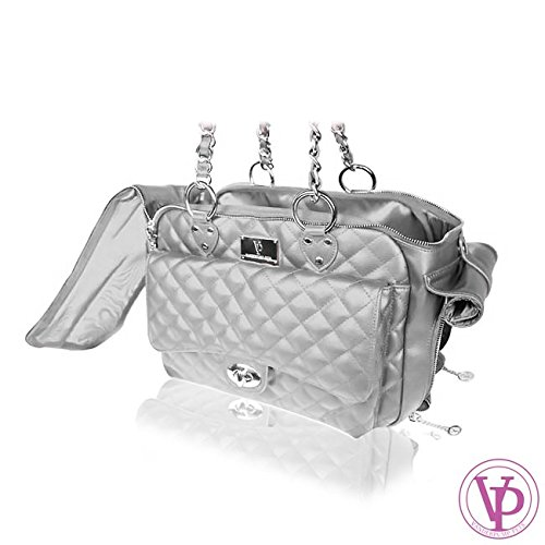 Vanderpump Pets Silver Quilted Dog Carrier