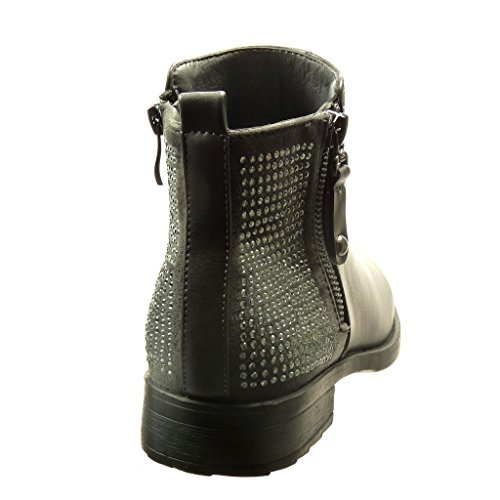 5 Cavalier Ankle Grey Heel 2 Rhinestone Booty cm Boots Angkorly Block Women's Fashion Shoes Zip 6qtwxn7Y4