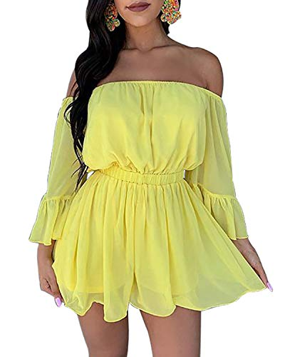 (BIUBIU Jumpsuits for Women Sexy Casual,Chiffon Romper Dresses Sexy Clubwear with 3 4 Sleeves Yellow S)