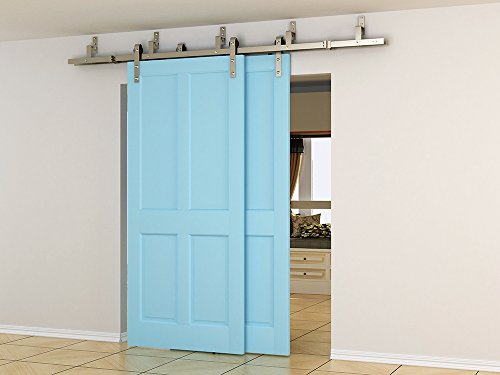 DIYHD 10ft brushed nickel steel bypass double sliding barn door hardware one piece easy mount bypass bracket by DIYHD (Image #1)