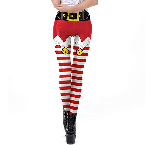 URIBAKE Women Print Leggings Christmas Striped High Waist