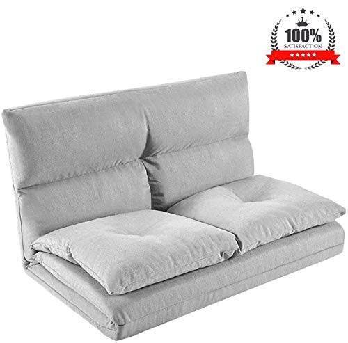 Fabric Floor Couch Lounge with 5 Adjustable Reclining Position, Foldable Japanese Floor Futon, Tatami Style Floor Sofa Bed for Sit Sleep Naps or Play
