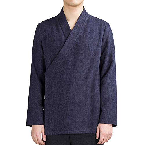 ZooBoo Chinese Clothing Tang Shirt - Traditional China Ancient Costume Martial Arts Tangzhuang Long Sleeve Jacket Shirt for Men (XXL, Navy Blue) ()