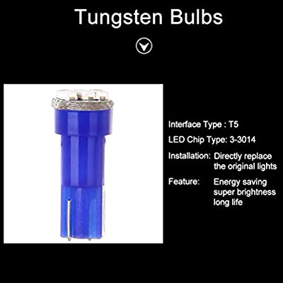 10 Pack T5 73 Wedge 3-3014SMD Instrument Gauge Dash Light LED Bulbs (Blue): Automotive