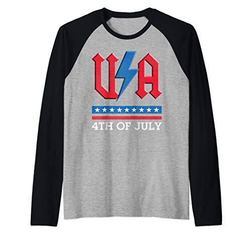 USA rock n roll thunder lightning style 4th of july gift  Raglan Baseball Tee