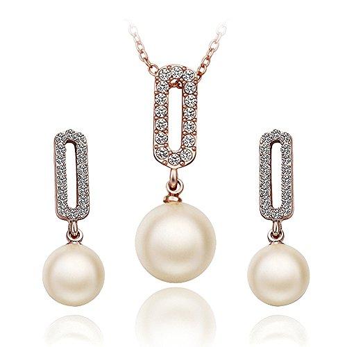 nykkola 18K plaqué or rose Fashion pour femme CZ Cristal Perle Collier Pendentif Boucles D'oreilles en forme de S
