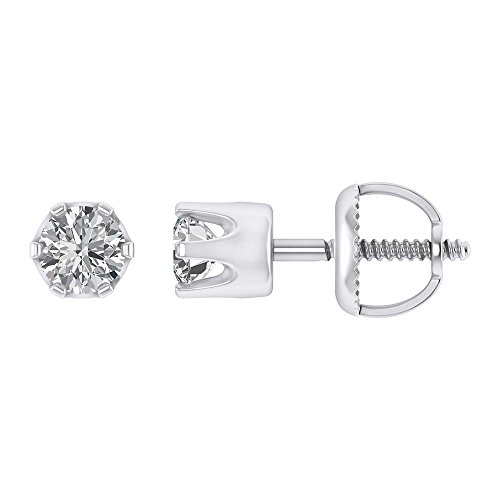 3mm Round Cut Stud Earrings 925 Sterling Silver 0.25 CT Solitaire CZ (0.25 Ct Solitaire)