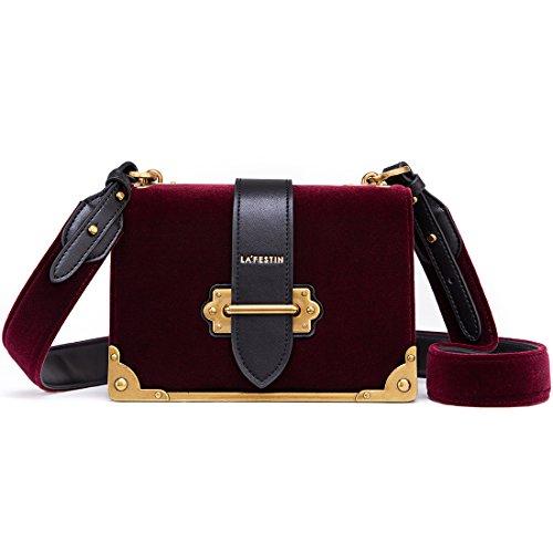 LA'FESTIN Velvet Leather Shoulder Bag for Ladies Cross Body Handbag (Burgundy)