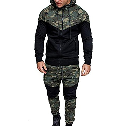 Men's Hoodie Winter Warm Fleece Zipper Camouflage Sweater Jacket Sports Outerwear Quilted Coat Top Pants Sets Sports Suit Tracksuit (Camouflage, 3L)