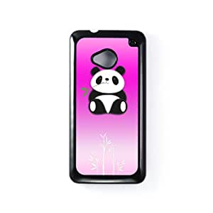 Panda Pink Carcasa Protectora Snap-On en Plastico Negro para HTC® One M7 de Gadget Glamour + Se incluye un protector de pantalla transparente GRATIS